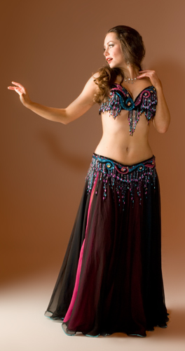 black pink turquoise Bella belly dance bellydance costume