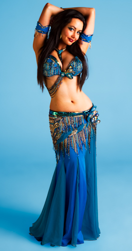 blue gold brown peacock Bella belly dance bellydance costume
