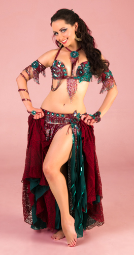 burgundy teal paisley green Bella belly dance bellydance costume