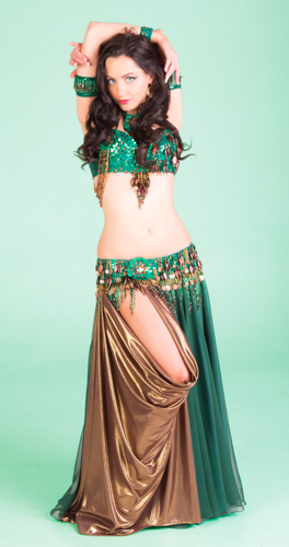 green bronze copper shimmer Bella belly dance bellydance costume