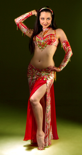 red green yellow rainbow sherbet Bella belly dance bellydance costume
