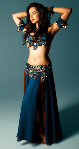 teal copper coin Bella belly dance bellydance costume