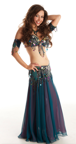 teal pink Bella belly dance bellydance costume