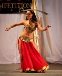 Lara performing a sword dance