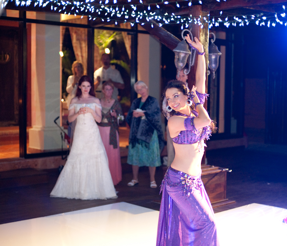 Lara performs at a wedding in Mexico.
